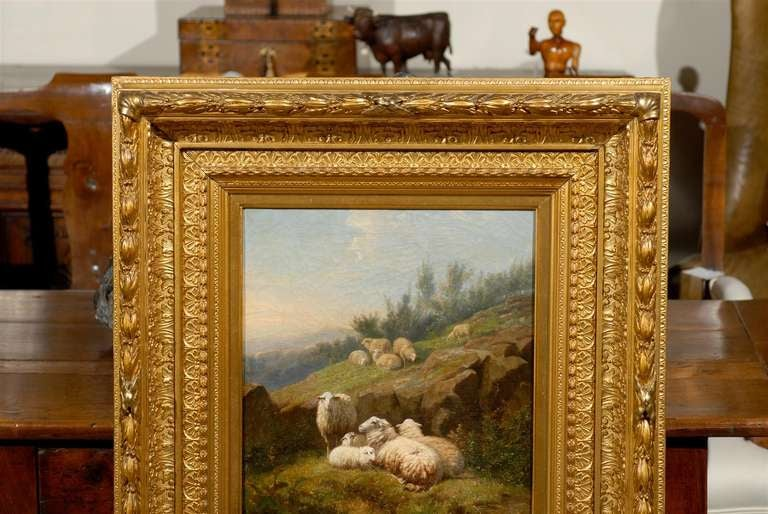 Dutch 1860s Sheep in Fields Oil on Canvas Painting Signed by Karel van Contich For Sale 3