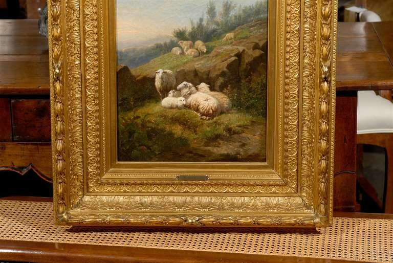 19th Century Dutch 1860s Sheep in Fields Oil on Canvas Painting Signed by Karel van Contich For Sale