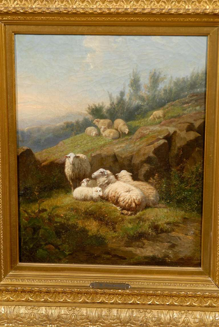 Dutch 1860s Sheep in Fields Oil on Canvas Painting Signed by Karel van Contich For Sale 4