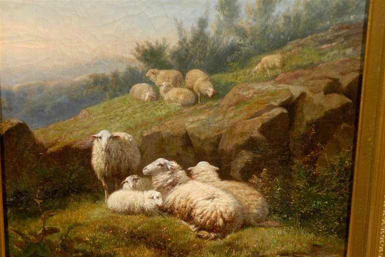 Dutch 1860s Sheep in Fields Oil on Canvas Painting Signed by Karel van Contich For Sale 6