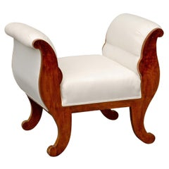 Austrian 1850s Biedermeier Upholstered Stool with Out-Scrolled Arms and Legs