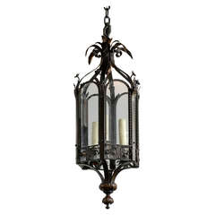 Turn of the Century French Iron Three-Light Lantern with Hexagonal Arched Frame