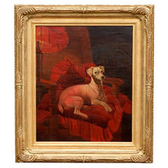 English Late 19th Century Vertical Oil Painting of a Dog Sitting in an Armchair