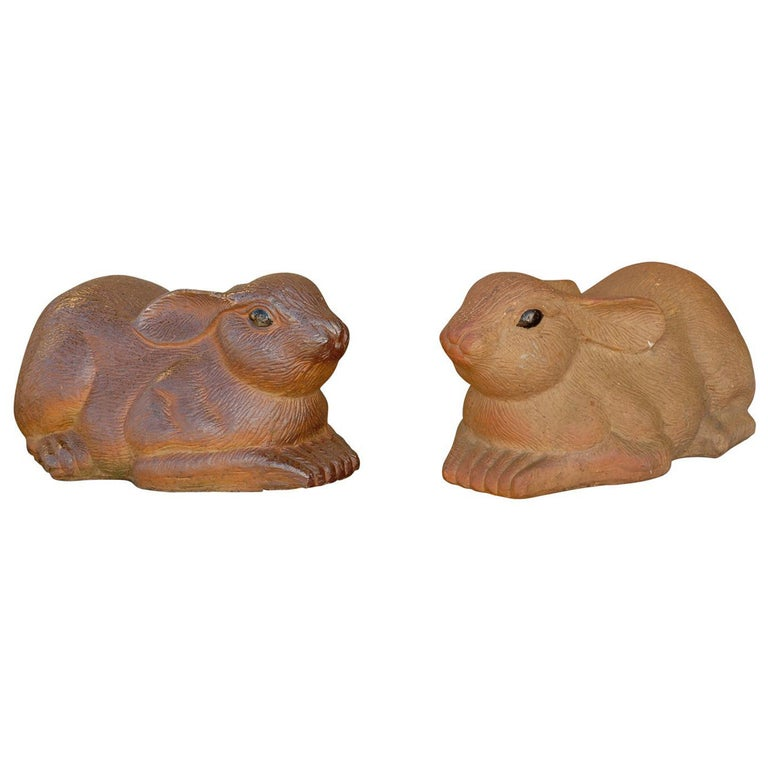 Pair of Large Painted Terracotta Rabbit Sculptures, 20th Century, English For Sale