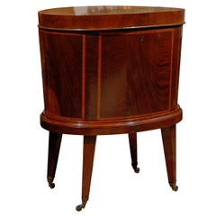 English 1870s Mahogany Cellarette with Banded Inlay, Splayed Legs and Casters