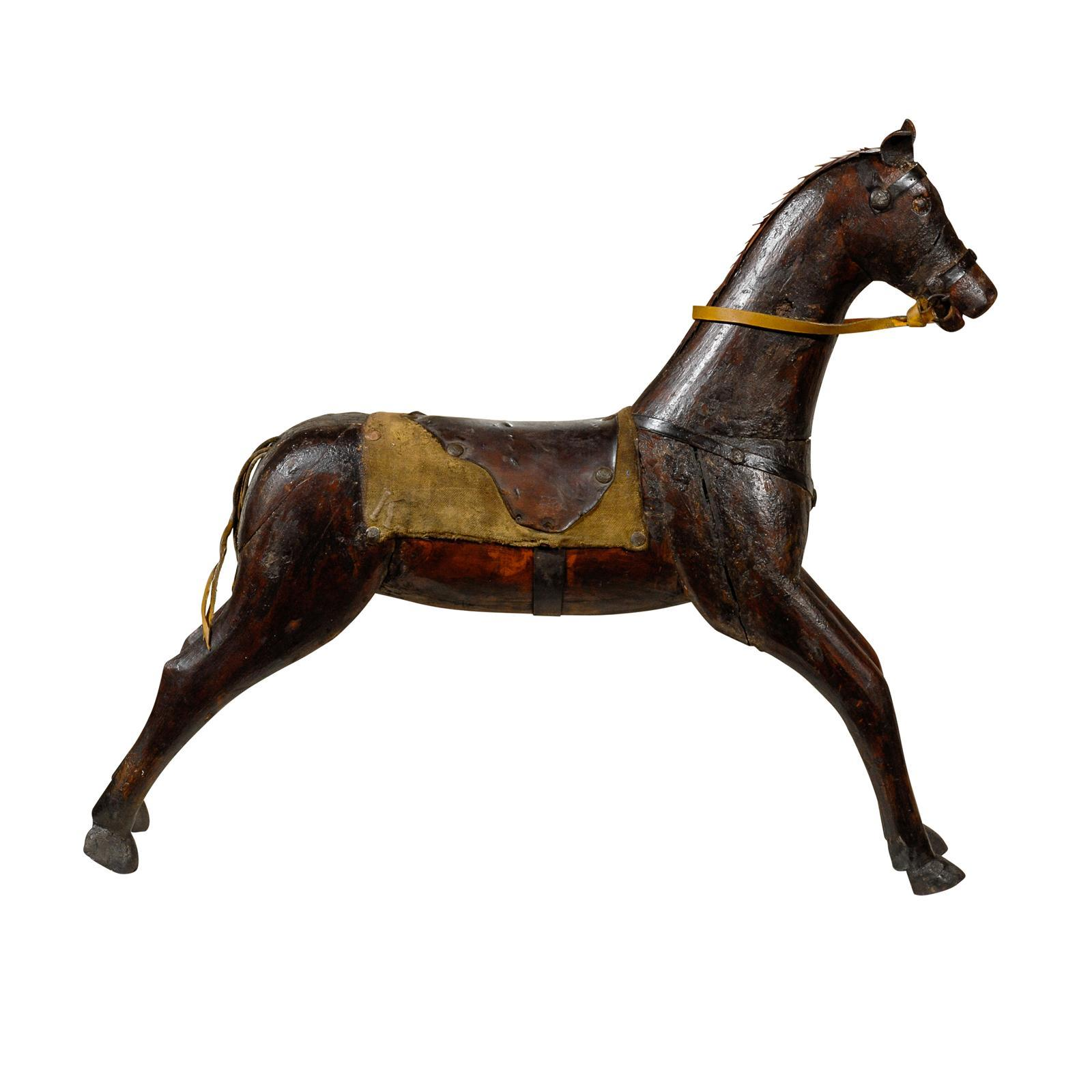 Mid-19th Century English Victorian Painted Wooden Horse with Leather Saddle