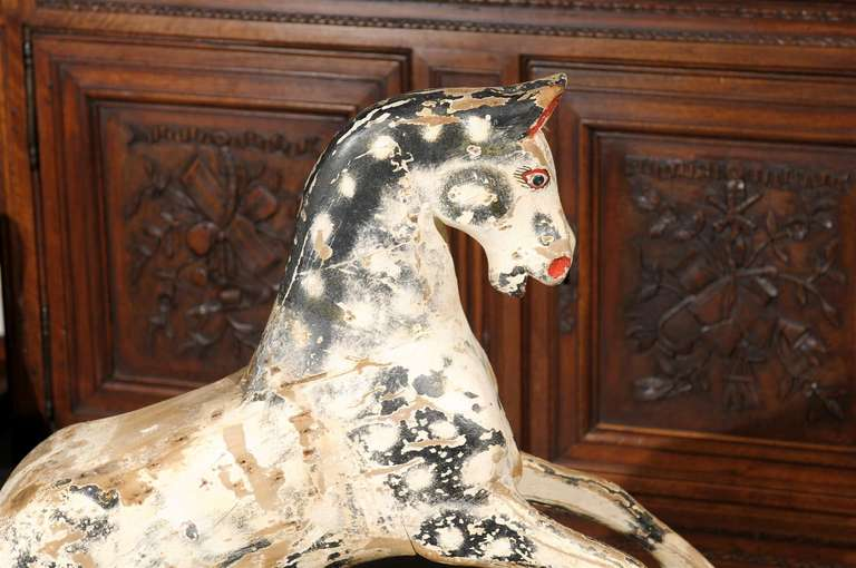 English Painted Wooden Horse Sculpture on Stand from the Mid-19th Century For Sale 7
