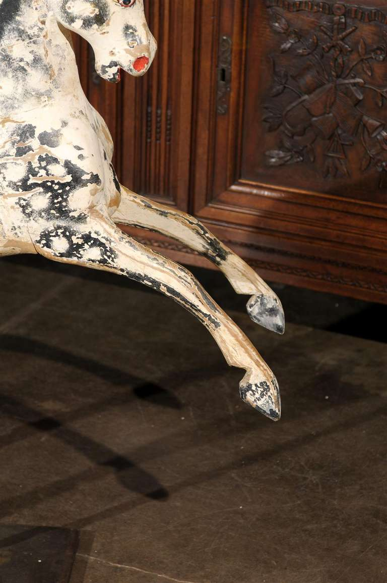 English Painted Wooden Horse Sculpture on Stand from the Mid-19th Century For Sale 4