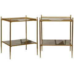 Pair of French Two-Tiered Bronze and Mirror Side Tables, Tapered Legs