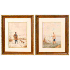 Pair of French Watercolor Paintings with Dogs and Hunters, Early 20th Century
