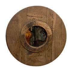 Italian Rustic Reclaimed Wood Planked Round Mirror from the Early 19th Century