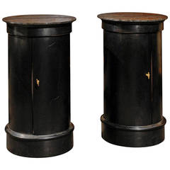 Pair of Round Tables with Marble Tops