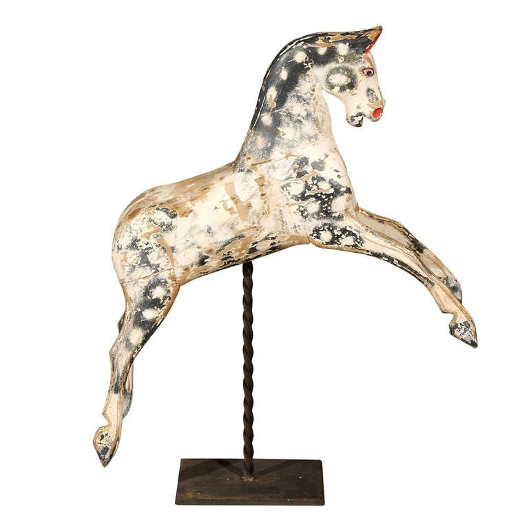 English Painted Wooden Horse Sculpture on Stand from the Mid-19th Century