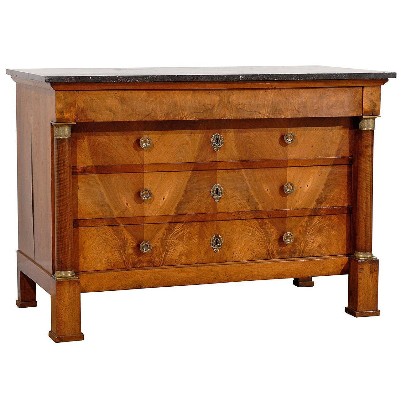 French Early 19th Century Empire Period Four-Drawer Commode with Marble Top For Sale