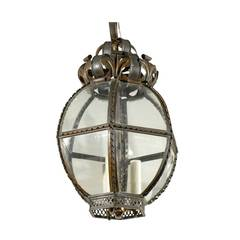 Italian Metal and Glass Rounded Hexagonal Lantern from the Mid 20th Century