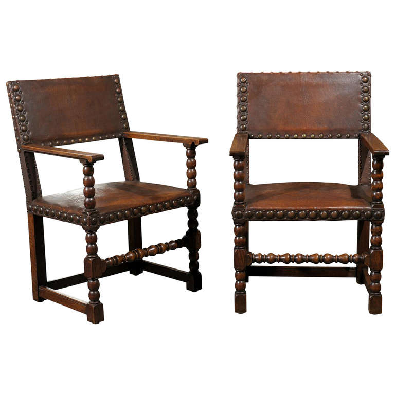 Pair Of Leather Arm Chairs At 1stdibs