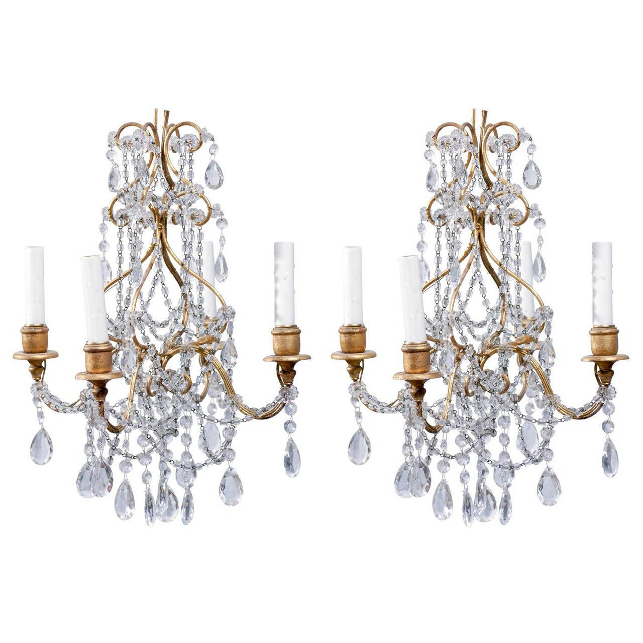 Crystal Chandelier Small Size: Pair Of Small Size Italian Crystal Four-Light Chandeliers