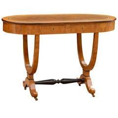 Oval Biedermeier Austrian Birch Desk from the Early 19th Century