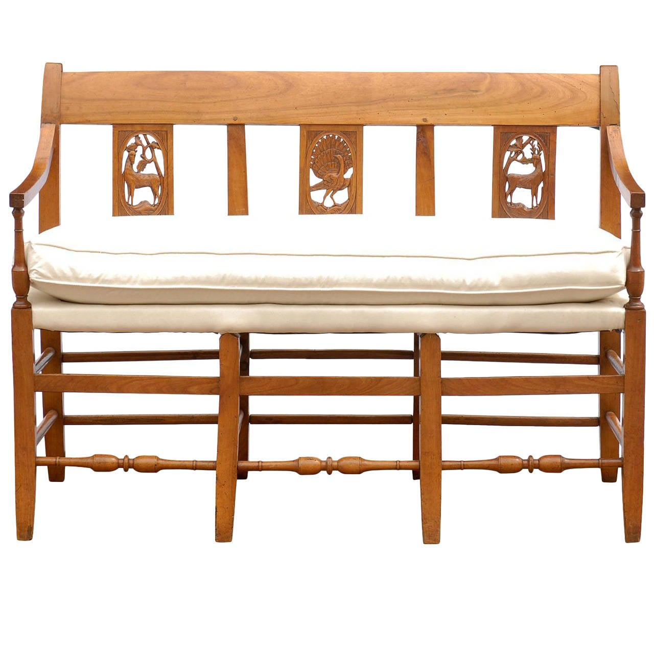 French Mid 19th Century Wooden Bench With Carved Back And Upholstered Seat For Sale At 1stdibs