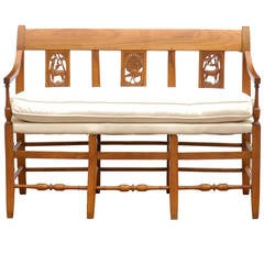 French Mid-19th Century Wooden Bench with Carved Back and Upholstered Seat