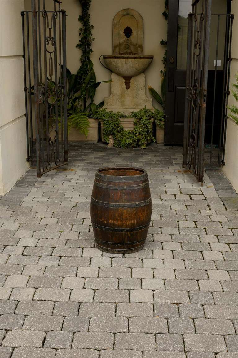 Rustic English Wooden Barrel With Metal Straps From The
