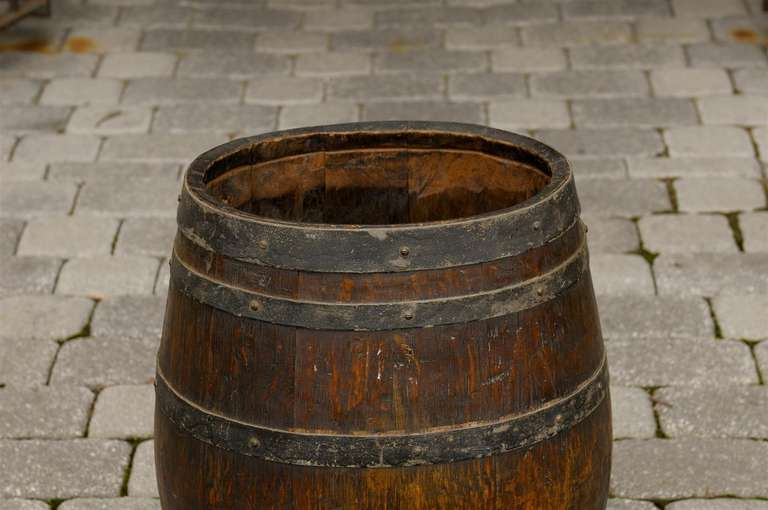 Rustic English Wooden Barrel With Metal Straps From The Late 19th
