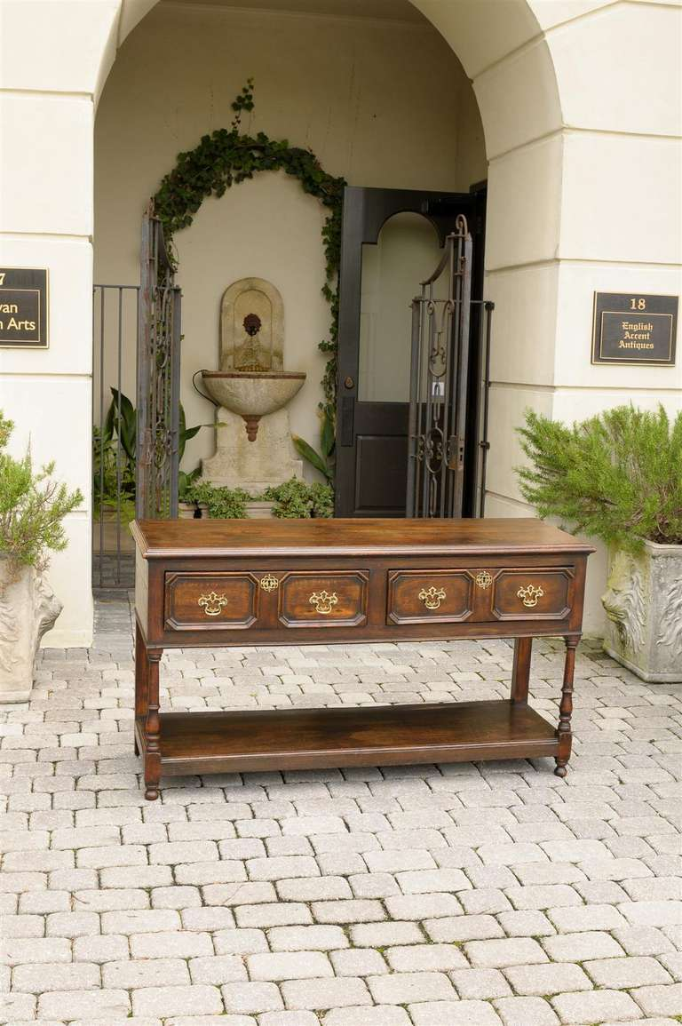 English Mid-19th Century Oak Sideboard with Two Drawers and Lower Shelf In Good Condition For Sale In Atlanta, GA