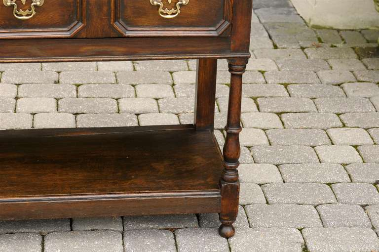 English Mid-19th Century Oak Sideboard with Two Drawers and Lower Shelf For Sale 6