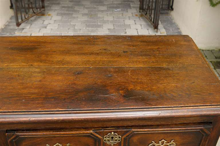 Brass English Mid-19th Century Oak Sideboard with Two Drawers and Lower Shelf For Sale