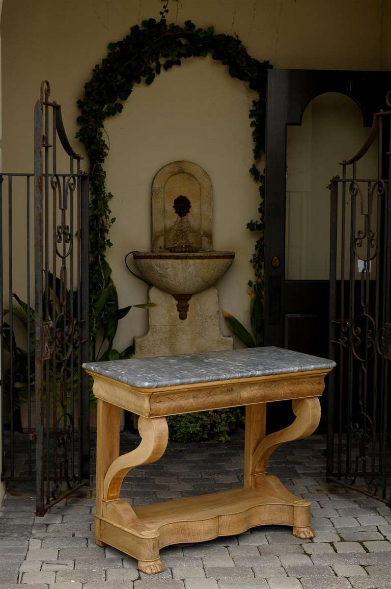 French Charles X Carved Walnut and Grey Marble-Top Console Table, circa 1830 In Good Condition For Sale In Atlanta, GA