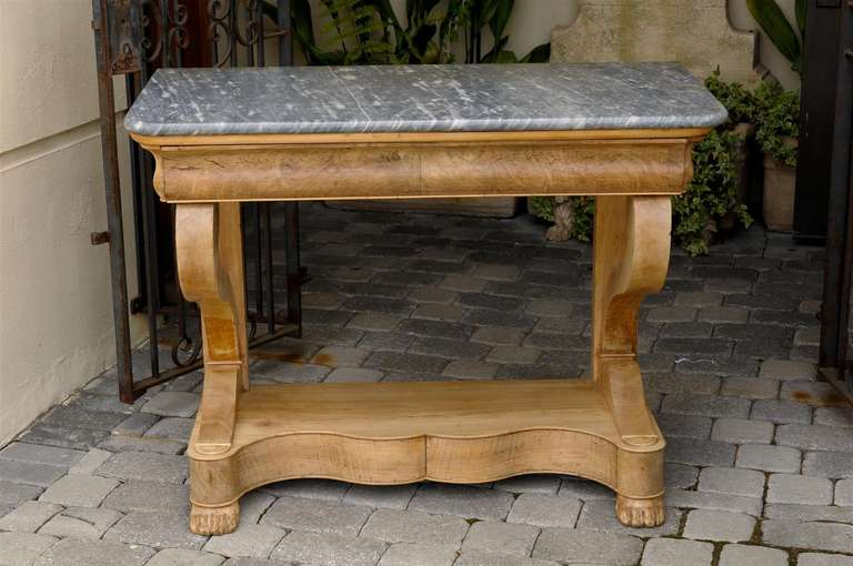 French Charles X Carved Walnut and Grey Marble-Top Console Table, circa 1830 For Sale 4