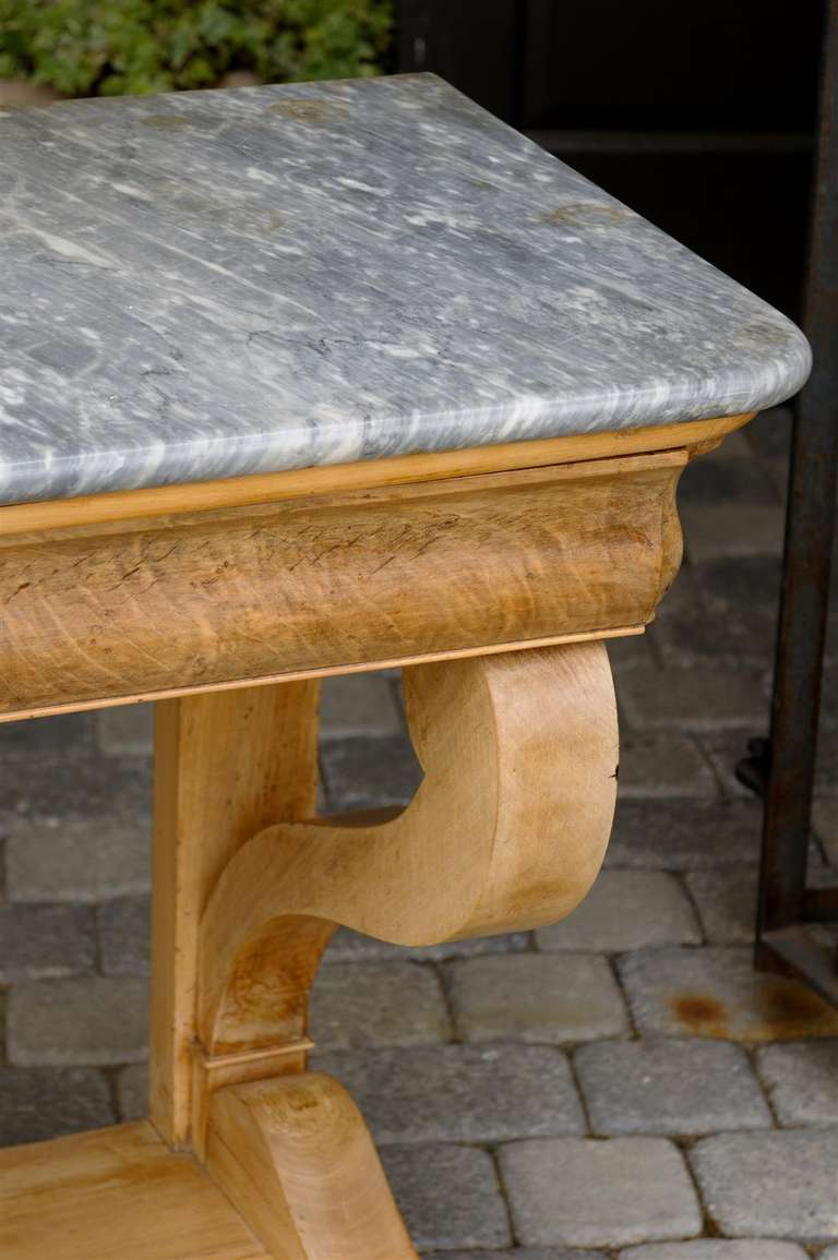 French Charles X Carved Walnut and Grey Marble-Top Console Table, circa 1830 For Sale 2