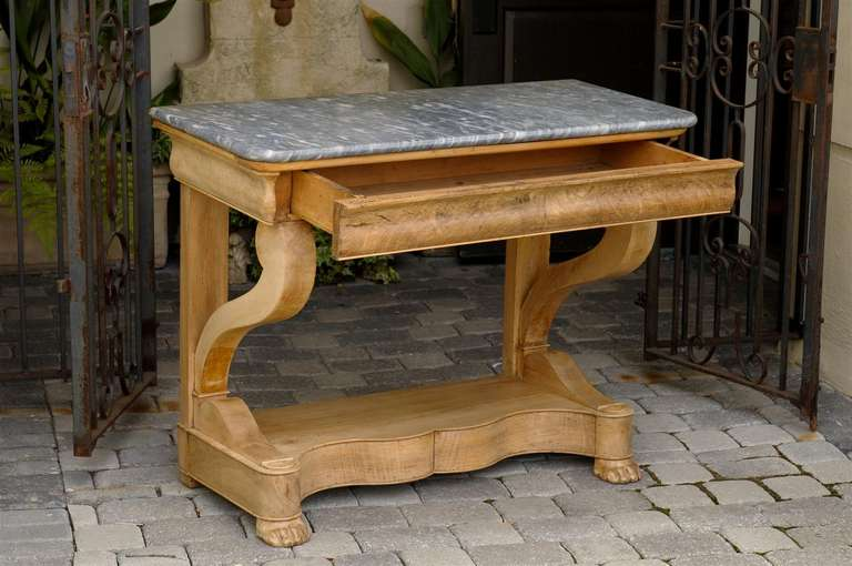 French Charles X Carved Walnut and Grey Marble-Top Console Table, circa 1830 For Sale 5