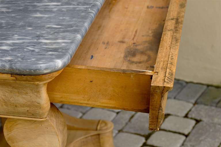 French Charles X Carved Walnut and Grey Marble-Top Console Table, circa 1830 For Sale 3