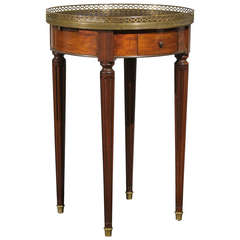 French 1820s Restauration Bouillotte Table with Marble Top and Brass Gallery