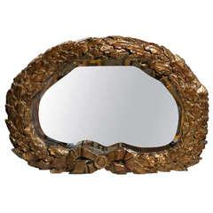 Oval 19th Century Italian Carved Gilt Ribbon-Tied Oak Leaf Wreath Mirror