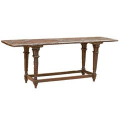 1700s Italian Baroque Long Table with Rustic Top and Garland Adorned Legs