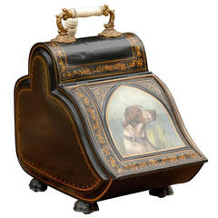 English Coal Scuttle with Sporting Dog Head Painting on Painted Tole circa 1880