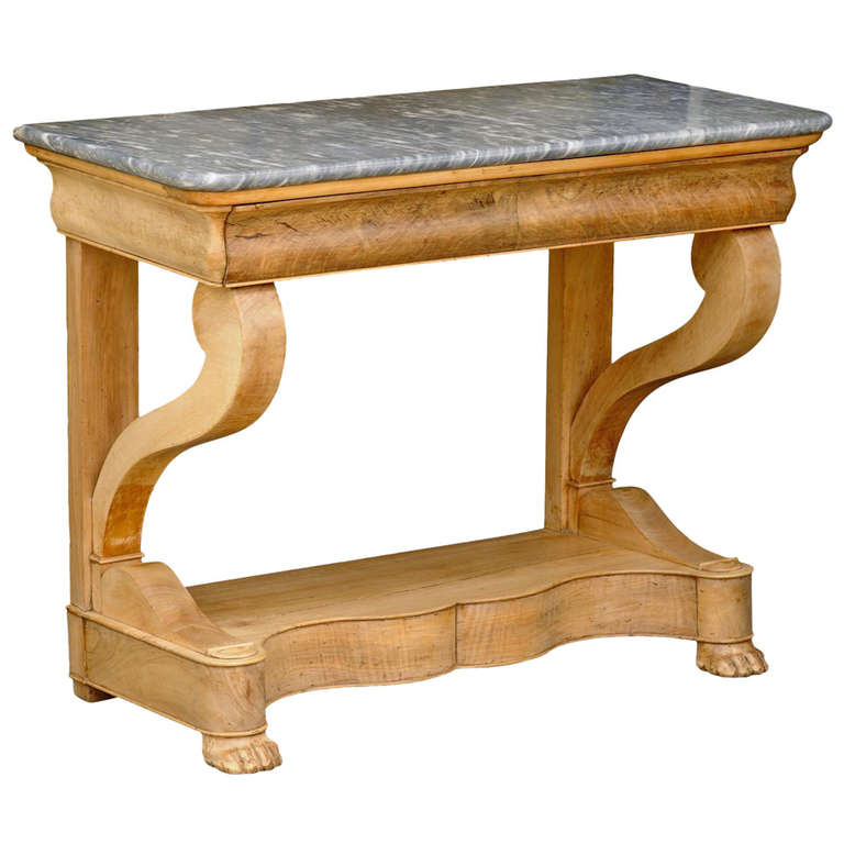 French Charles X Carved Walnut and Grey Marble-Top Console Table, circa 1830 For Sale