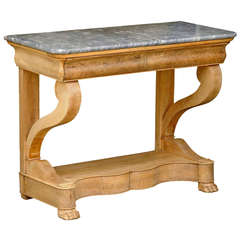 French Charles X Carved Walnut and Grey Marble-Top Console Table, circa 1830