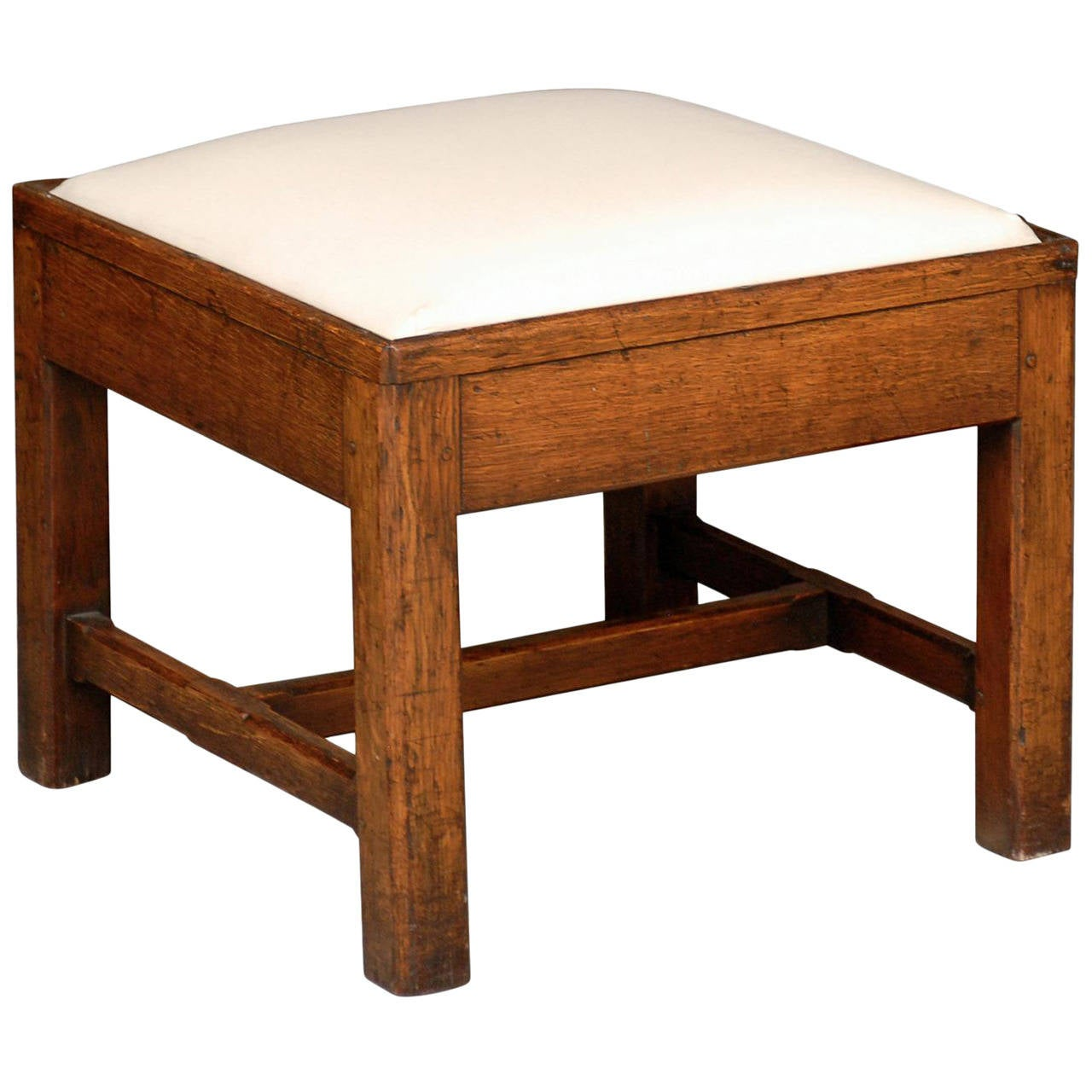 English Late 19th Century Oak Square Stool With