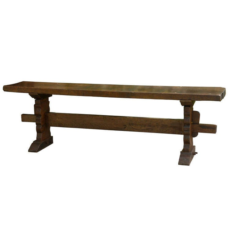 Delightful English Long And Narrow Trestle Table With Tick Single Plank Top, Circa  1860 1