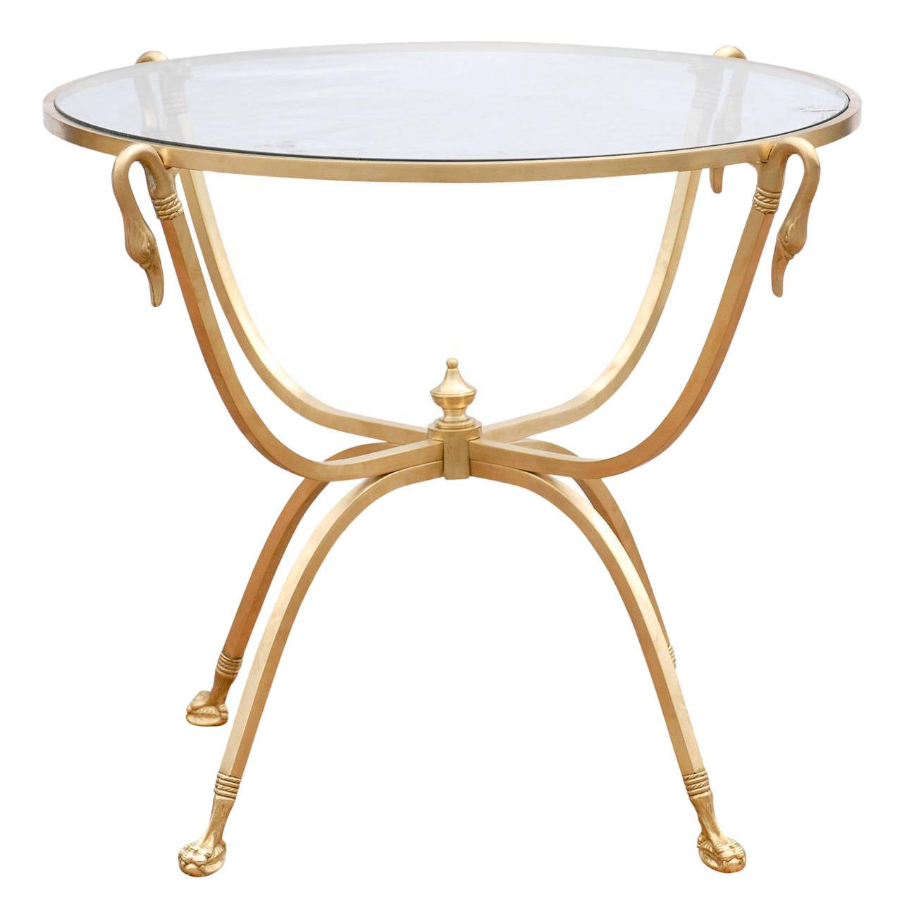Italian Round Brass Table with Glass Top and Swan Motifs, circa 1960