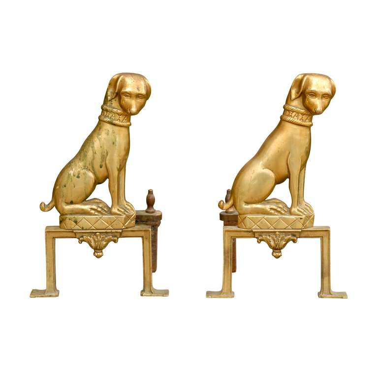 Pair of French Brass Dog Andirons from the Mid-20th Century