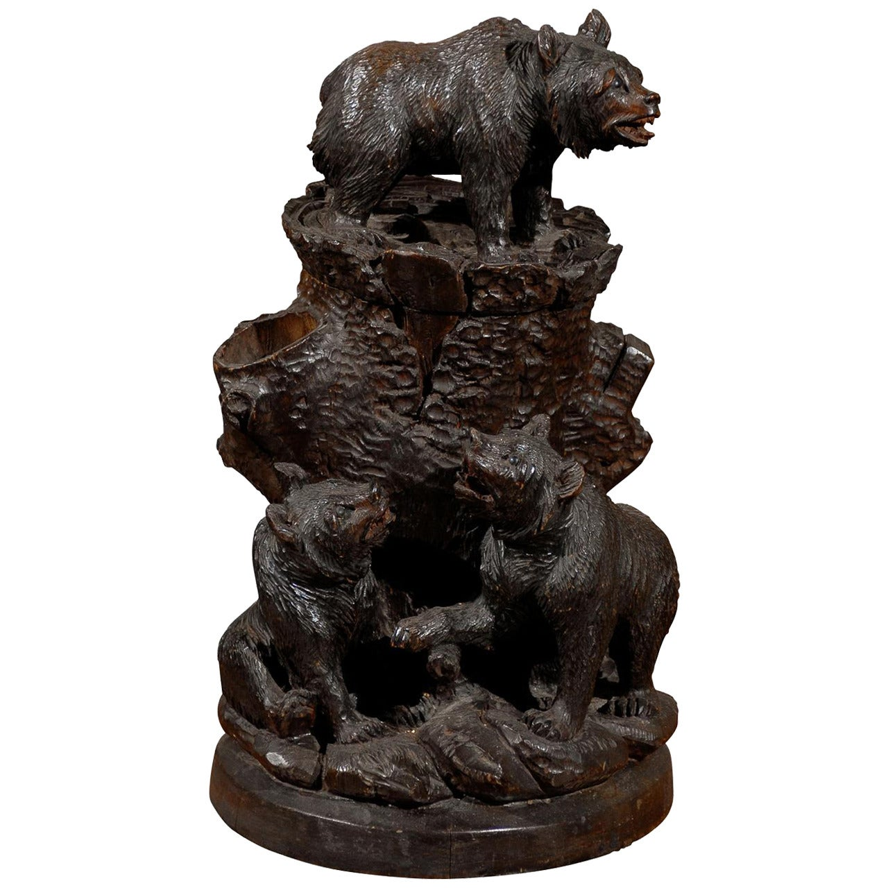 Swiss Black Forest Carved Wooden Bear Humidor from the Early 1900s