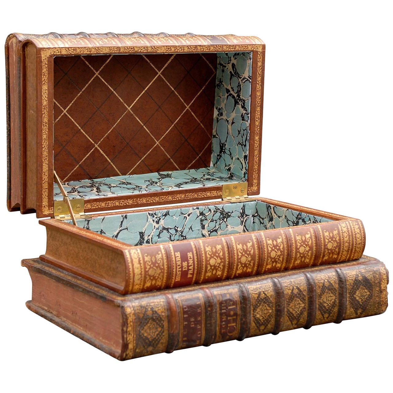 Leather faux book box at 1stdibs for Furniture box