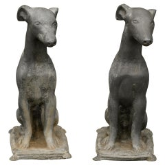 Pair of American 1930s Lead Greyhound Dogs Sculptures Sitting on Cushions
