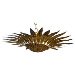 Spanish Semi-Flush Gilt Metal Sunburst Light Fixture with Carved Pointing Leaves