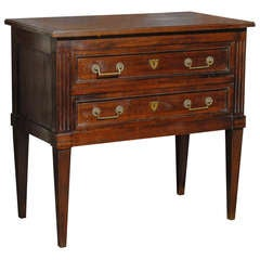 French Louis XVI Style Two-Drawer Commode with Tapered Legs and Fluted Posts