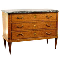 French Burl Wood 1810s Louis XVI Style Three-Drawer Commode with Marble Top